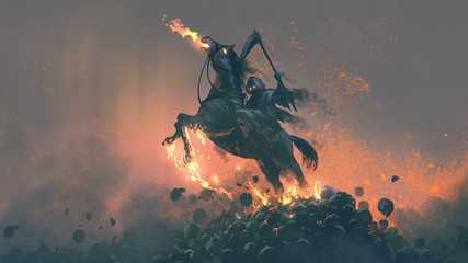 the horseman, grim reaper riding the horse jumping from a pile of human skulls, digital art style, illustration painting