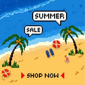 Summertime the beach background hanging summer icons, sea, sunglasses , watermelon and etc. pixel art style . vector illustration