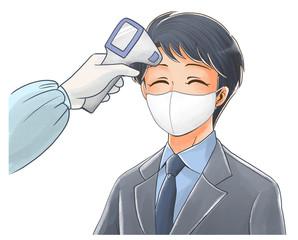 検温してもらうマスクをつけた笑顔の社会人のイラスト