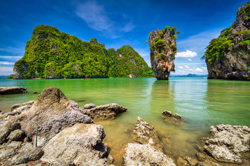 Amazing landscape of the Khao Phing Kan island with Ko Tapu rock on Phang Nga Bay in Thailand
