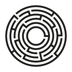 Black circle vector maze isolated on white background. Black round labyrinth with one entrance and target. Vector maze icon. Labyrinth symbol. Circle puzzle with one solution