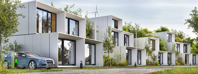 Obraz Modular houses of modern architecture and an electric car - fototapety do salonu