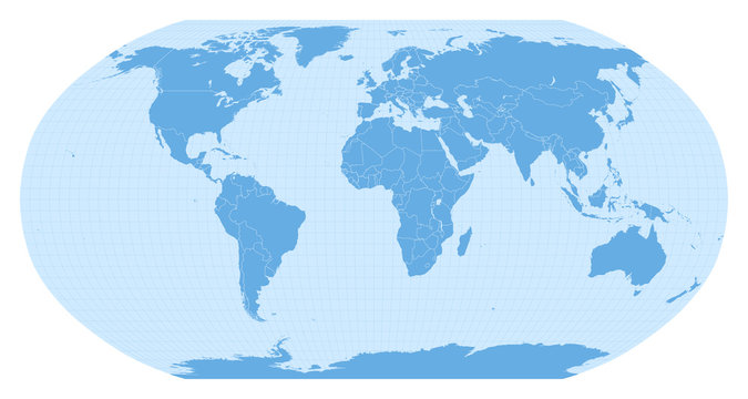 World map in Robinson projection (EPSG:54030). Detailed vector Earth map with countries' borders and 5-degree grid.