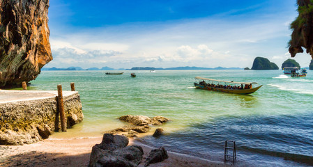 Amazing landscape of the Khao Phing Kan island on Phang Nga Bay in Thailand