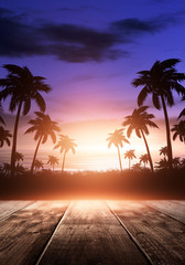 Foto auf AluDibond Braun Sea evening landscape with sunset. Palm tree branches, silhouettes, sunlight. Wooden table by the sea. Night view, open-air seascape. 3D illustration