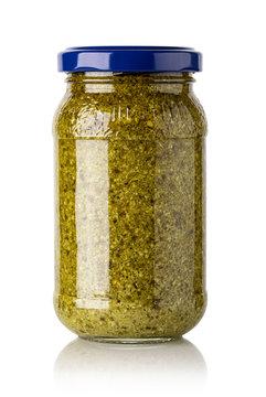 basil pesto sauce in glass jar