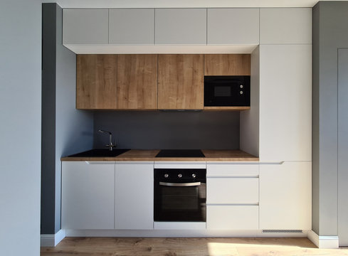 Installation built-in furniture and wiring kitchen