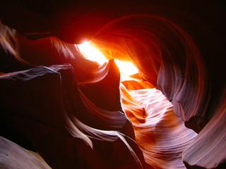 Obraz Rock Formations At Antelope Canyon On Sunny Day - fototapety do salonu