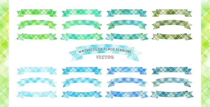 vector watercolor plaid ribbon set, green, blue