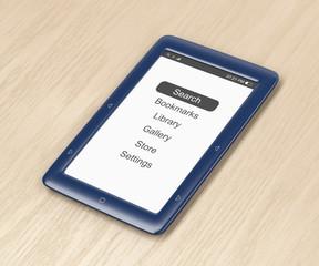 Blue e-book reader