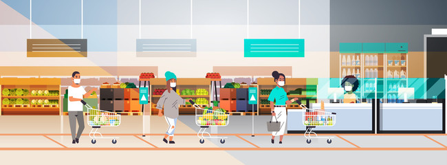 customers in protective masks with groceries keeping distance to prevent coronavirus pandemic standing line queue to female cashier grocery shop interior horizontal full length vector illustration