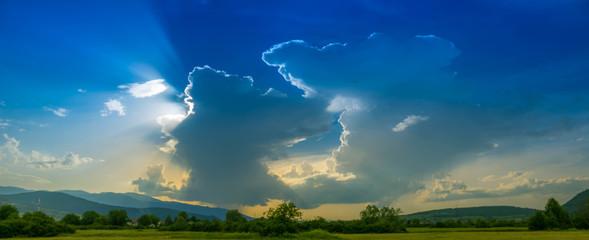 Foto auf AluDibond Blau türkis Panoramic View Of Landscape Against Blue Sky