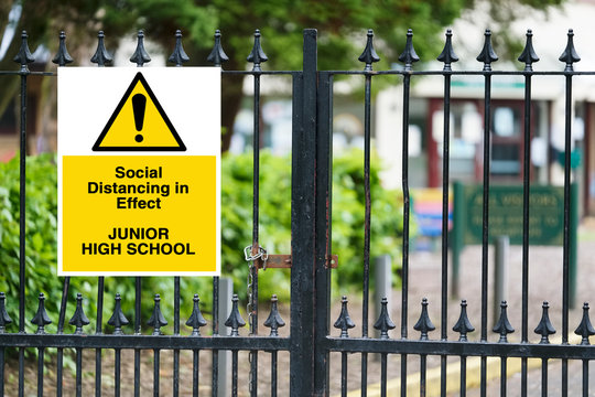 Junior high school sign for social distancing open to pupils