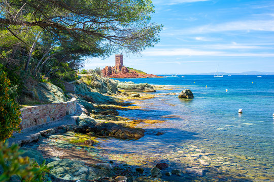 beautiful coast on french riviera in Frejus, south France