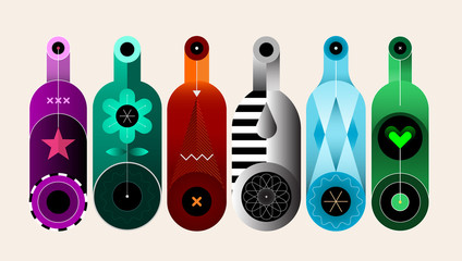Ingelijste posters Abstractie Art A row of six different colored bottles on a light background, decorative modern design, vector illustration.