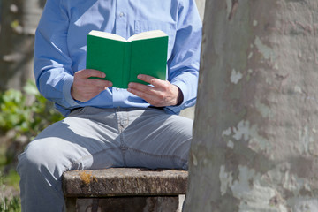 Businessman sitting on a bench in a park reading a green book