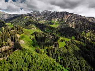 Aerial shot of the beautiful mountain