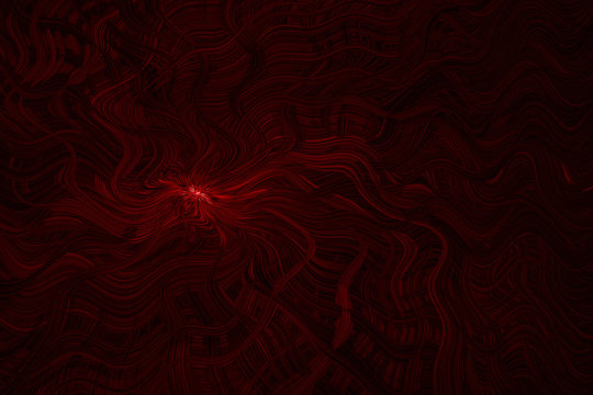 Abstract frightening background in red and black colors with fancifully curved lines in the style of Lovecraft.