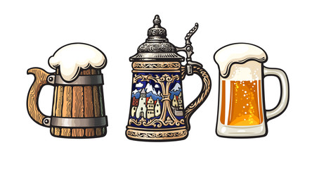 Vintage colorful set of beer mugs. Old wooden mug. Traditional German stein. Glass mug with foam. Vector illustration.