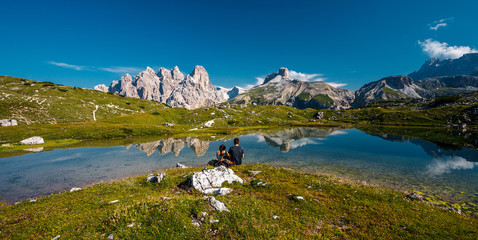 Fotomurales - Wonderful sunny landscape of Dolomite mountains in summer. National Nature Park Tre Cime In the Dolomites Alps. Beautiful nature of Italy. popular travel and hiking destination.
