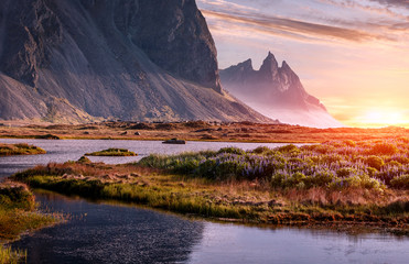 Foto op Plexiglas Lavendel Scenic image of famous Stokksnes cape and Vestrahorn Mountain with colorful dramatic sky during sunset in Iceland. Iconic location for landscape photographers. Amazing nature of World.