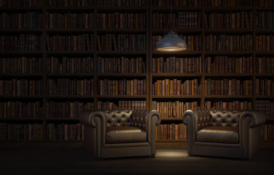 Reading room in old library or house.Vintage style leather armchairs with ceiling lamp.Night scene room.3d rendering