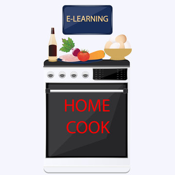 Home cook - online training, gas stove, products, vegetables, meat, eggs, wine - isolated on white background - vector. Housekeeping. Lifestyle.