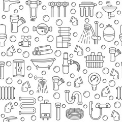 Seamless pattern with plumbing service line icon on a white background. Concept for web banners and printed materials Template for plumbing store.