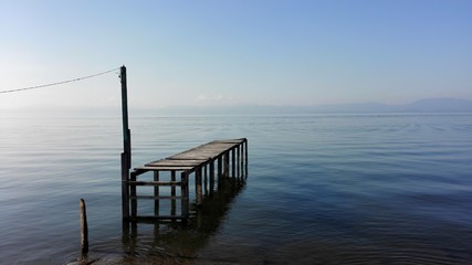 View Of Pier On Calm Lake