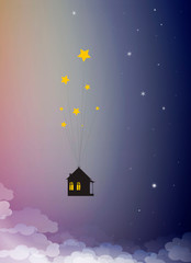 sweet home dreams concept, house hanging on the star in the sky, time dreaming,