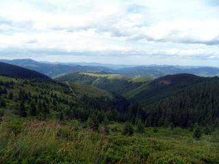 Spoed Foto op Canvas Groen blauw Beautiful summer travel in the mountains