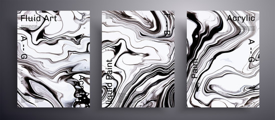 Fototapete - Abstract liquid banner, fluid art vector texture set. Artistic background that can be used for design cover, invitation, presentation and etc. Black and white unusual creative surface template