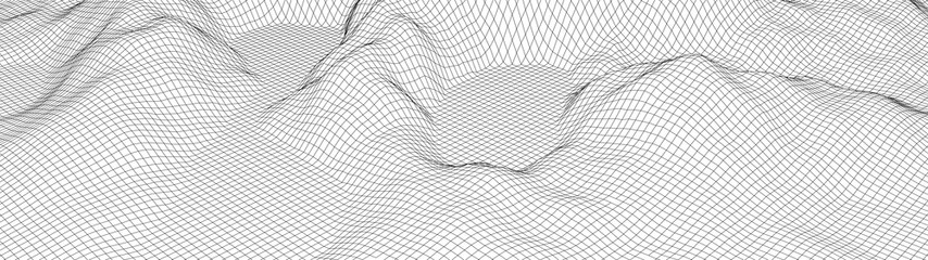 Wall Murals White Vector wireframe 3d landscape. Technology grid illustration. Network of connected dots and lines. Futuristic background.