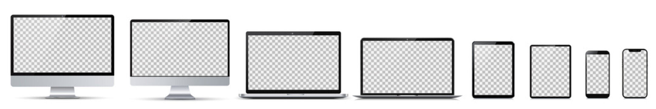 Set technology devices with empty display - for stock vector
