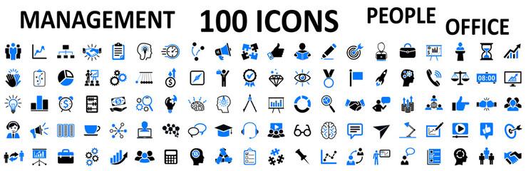 Obraz Set of 100 management web icons: manager, teamwork, strategy, marketing, business, planning - stock vector - fototapety do salonu