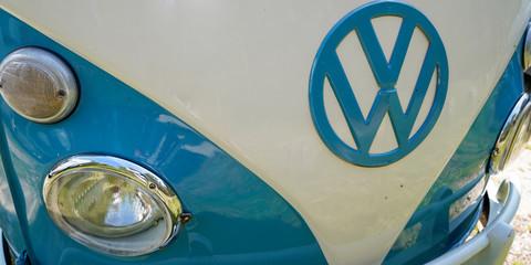 Volkswagen logo sign on Old vw kombi front of car bus vintage retro classic