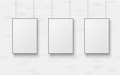 Wall Mural - Blank poster on a white brick wall.