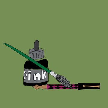 Art supplies, ink pen and brush on green background, vector illustration surface design