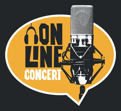 Vector banner in form of speech bubble for an online music concert with a studio microphone and headphones. Suitable for advertising, poster, flyer, invitation, sticker, web page