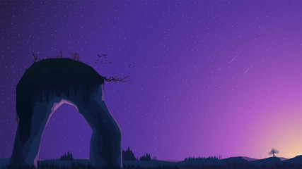 Poster Violet Sunset in a field with pine trees and a large rock in the foreground. Vector landscape with starry sky
