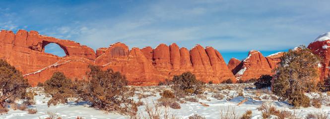 Foto auf Gartenposter Ziegel Scenic View Of Snow Covered Landscape