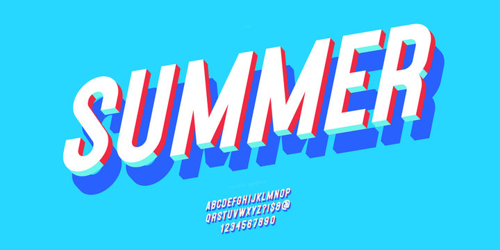 Summer font 3d bold style modern typography for decoration, logo, poster, t shirt, book, card, sale banner, printing on fabric, industrial. Cool typeface. Trendy fun alphabet. Vector 10 eps