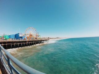 Fototapeta Scenic View Of Sea By Santa Monica Pier Against Clear Sky obraz