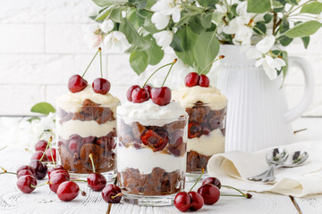 Delicius trifle with cherry and cream for breakfast
