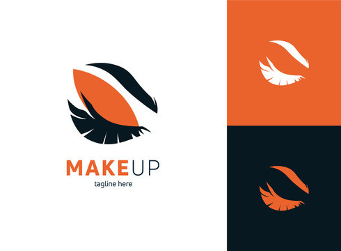 Makeup logo template vector illustration. Beauty eyelashes with background.