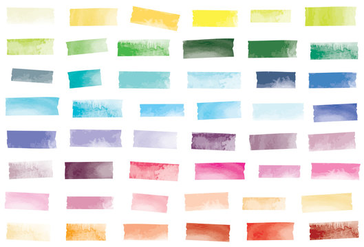 Watercolor mini washi tape strips in 48 colors. Semi-transparent masking tape or adhesive strips. EPS file has global colors for easy color changes.