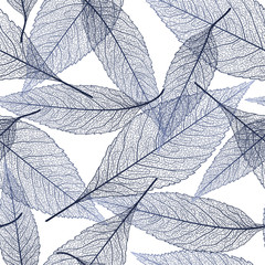 Seamless pattern with dark-blue leaf veins. Vector illustration.