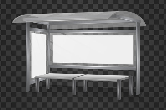 Realistic blank bus shelter product vector