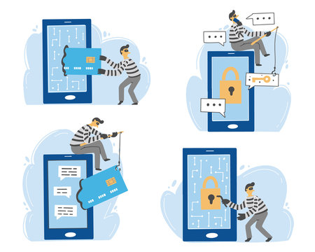 Scammer attack, email phishing, cyber hacker, online fraud, security concept design for web, banner, social media. Cartoon character of scammer. Flat design vector illustration.