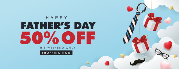 Fototapete - Happy Fathers Day Sale 50% off banner with gift box and heart shape on cloud background.Promotion and shopping template for Father's Day.Vector illustration.